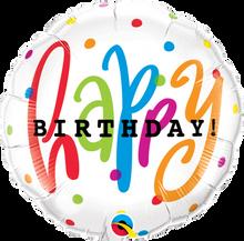 "18"" Round Happy Birthday Dots"