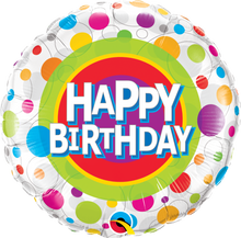 "18"" Round Happy Birthday Colourful Dots"