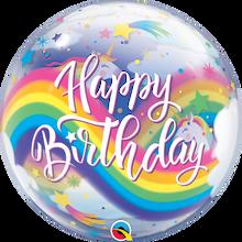 """22"""" Bubble Balloon Birthday Rainbow Unicorns"""
