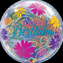 "22"" Bubble Balloon Birthday Flowers & Filigrees"