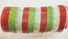 """Deco Mesh - 10"""" x 10yd - Stripe Red/Lime/White"""