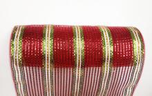 "Deco Mesh - 10"" x 10yd - Stripe Red/Green Metallic"