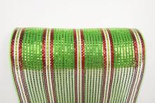 "Deco Mesh - 10"" x 10yd - Stripe Green/Red Metallic"