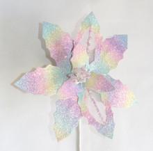 Poinsettia - Glitter Iridescent Multi 27cm