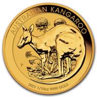2021 Australian Kangaroo 1/10 oz Gold Coin