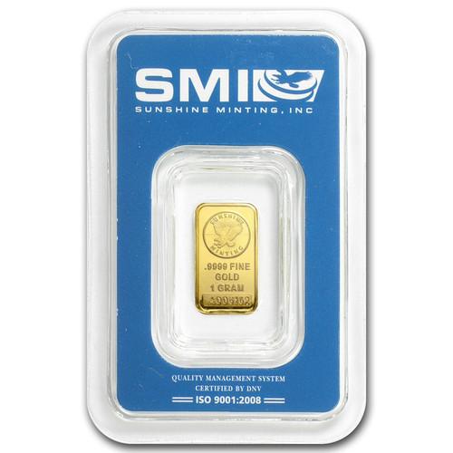 Sunshine Mint 1 gram Gold Bar (In TEP Packaging)