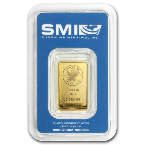 Sunshine Mint 5 gram Gold Bar (In TEP Packaging)