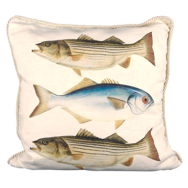 Striped Bass and Bluefish Ox Bow Pillow