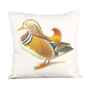 Mandarin Duck Ox Bow Linen Pillow