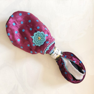 Pocket Slippers -  polka dot pink  with turquoise cording