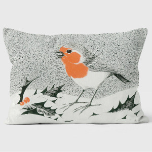 Robin In a Snowstorm Pillow