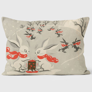 Skating Rabbits Pillow