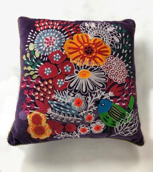 Embroidered Velvet Pillow - Floral