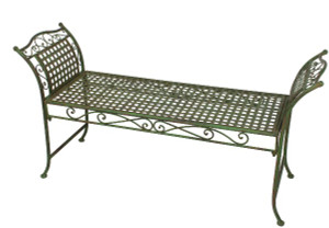 Garden bench: backless/green metal.