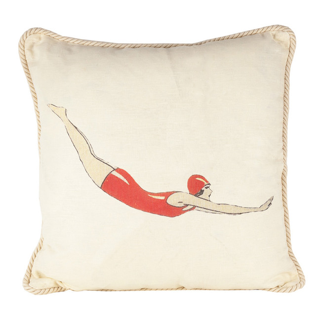 Diver in Red Suit Ox Bow Pillow