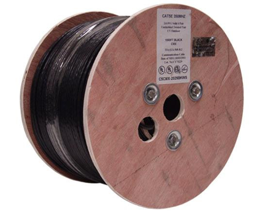 Primus Cable CAT5E Outdoor, Shielded, Aerial w/ Messenger, 1000ft Spool, Black, C5CMXSM-3203