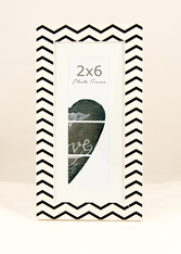 White and Black Photo Booth Frame with wall hanger and mat chevron design
