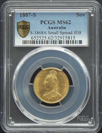 1887-S Sovereign in MS62