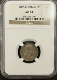 1835 sixpence in MS64