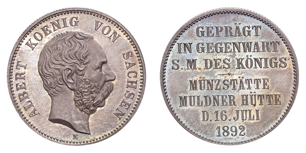 The Coin Cabinet Lot 70 Germany: Saxony Albert 1892-E 2 Mark Royal visit to Muldenhutten NGC PF66