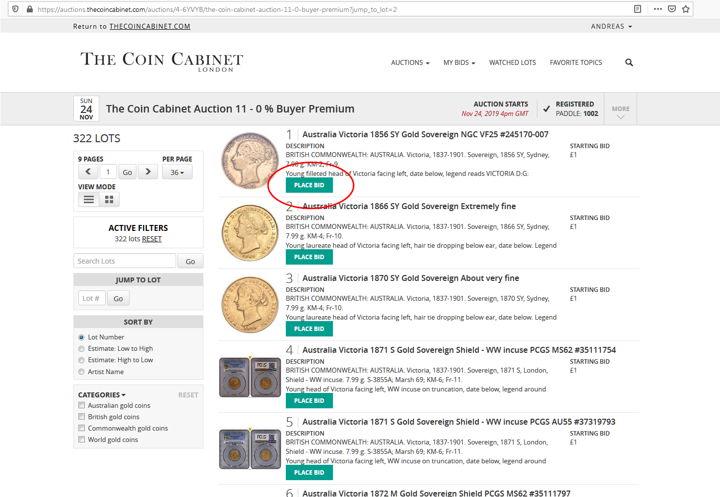 Placement of Place bid button on All lots page