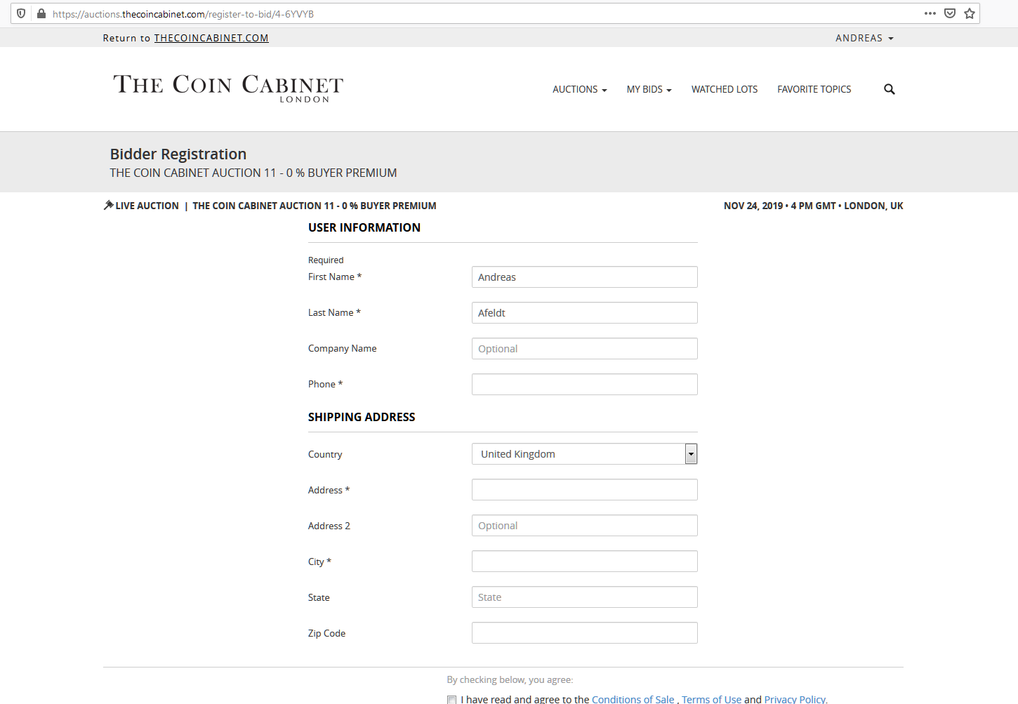 Fill in the form on the Bidder registration page