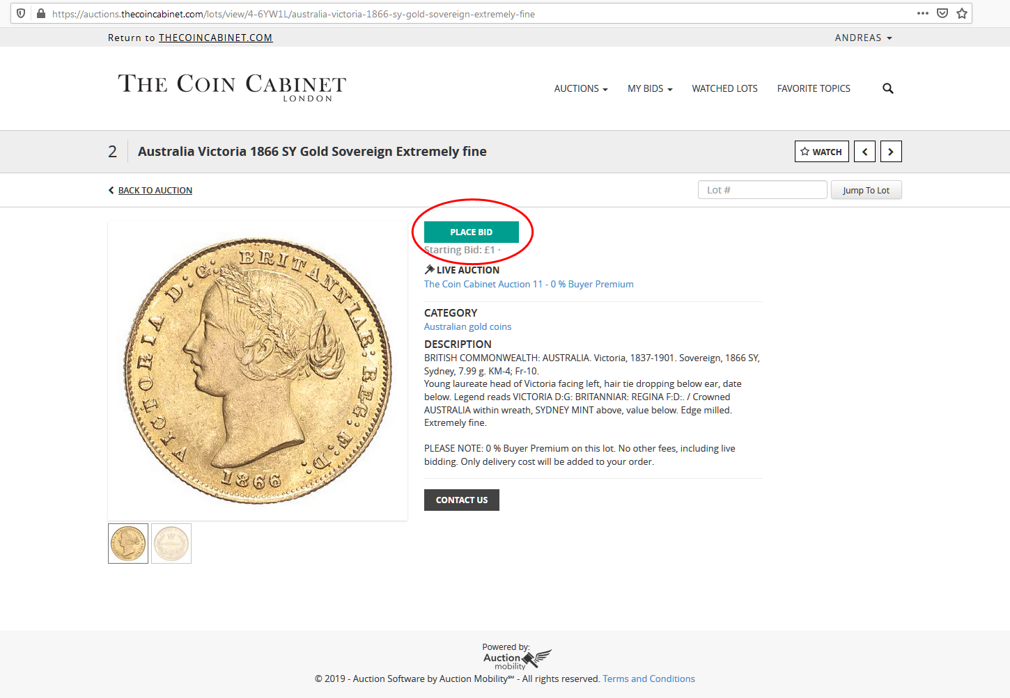 Placement of Place bid button on individual lot page