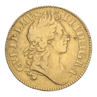 Great Britain William III 1701 Gold Guinea AVF, hairlines and scratches