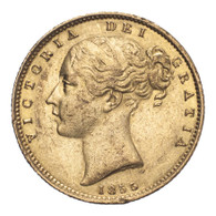 Great Britain Victoria 1855 Gold Sovereign Shield - WW raised R5 Very fine