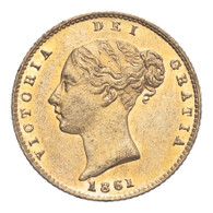 Great Britain Victoria 1861 Gold Half-Sovereign Extremely fine