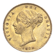 Great Britain Victoria 1869 Gold Half-Sovereign Die number 21 Extremely fine