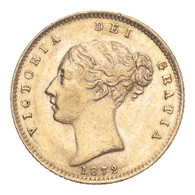 Great Britain Victoria 1872 Gold Half-Sovereign Repositioned legend - Die number 220 About extremely fine