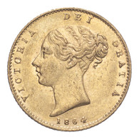 Great Britain Victoria 1864 Gold Half-Sovereign Die number 9 About extremely fine