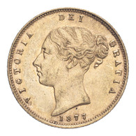 Great Britain Victoria 1877 Gold Half-Sovereign Die number 155 About extremely fine