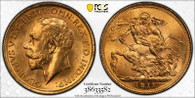 Australia George V 1911 S Gold Sovereign PCGS MS64 #38633582