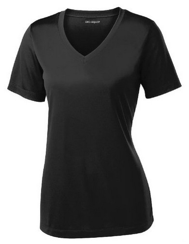 b9694c522871 ... DRI-EQUIP Ladies Short Sleeve V-Neck Moisture Wicking Athletic T-Shirts.  Black