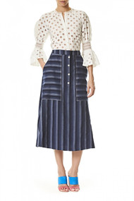 Carolina Herrera Denim Stripped Skirt