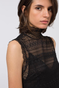 Dorothee Schumacher Pure Black Sacred Lace Turtleneck Top
