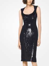 Michael Kors Sequined Stretch-Cady Sheath Dress