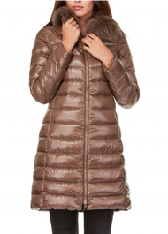 Herno Long Fitted Jacket with Removable Fur Collar