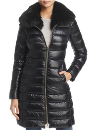 Herno Black Long Fitted Jacket with Removable Fur Collar