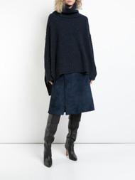 Adam Lippes Navy Marled Cashmere Boxy Turtleneck Sweater with Side Slits