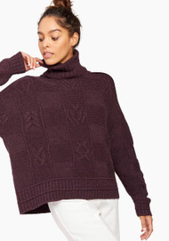 JED Cabled Checkerboard Turtleneck Sweater