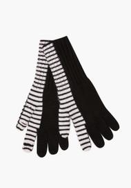 JED Cashmere Bifurcated Stripe Gloves