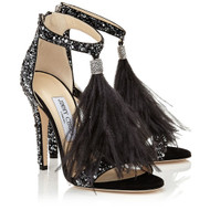 Jimmy Choo Viola Black Suede & Crystal Embellished Pump
