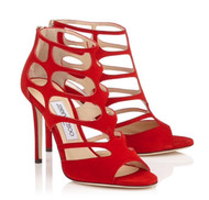 Jimmy Choo Ren Caged Red Suede Sandal