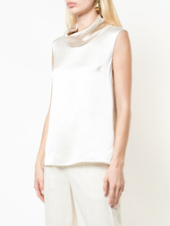 Adam Lippes Silk Charmeuse Cowl Neck Top
