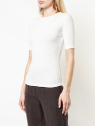 Adam Lippes Ivory Rib Jersey Fitted T-Shirt