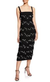 Lela Rose Black Sleeveless Embroidered Sheath Dress