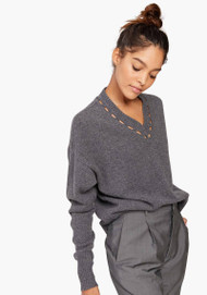 JED Madeira Graphite V-neck Sweater